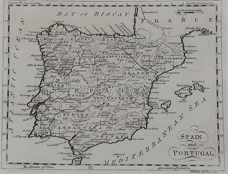 English Original Antique Map of Spain and Portugal, circa 1790 For Sale