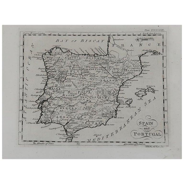 Original Antique Map of Spain and Portugal, circa 1790