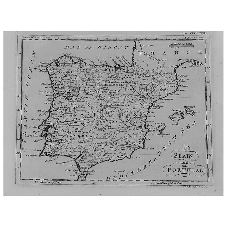 Original Antique Map of Spain and Portugal, circa 1790 For Sale