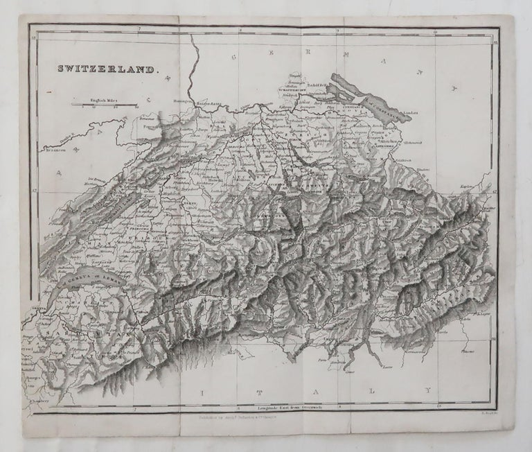 Scottish Original Antique Map of Switzerland, circa 1840