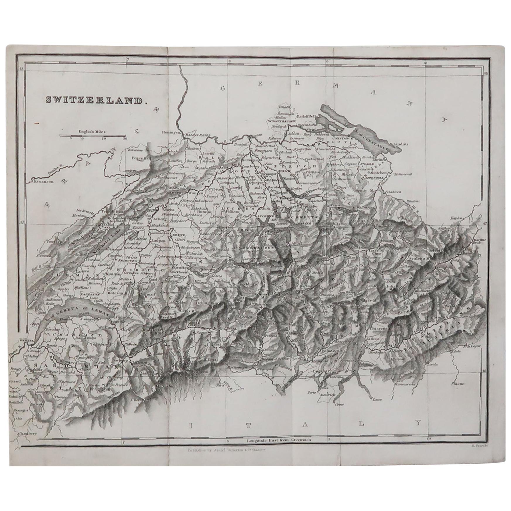 Original Antique Map of Switzerland, circa 1840
