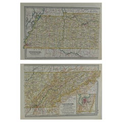 Original Antique Map of Tennessee, circa 1890