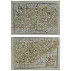 Original Antique Map of Tennessee, circa 1890