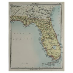 Original Antique Map of The American State of Florida, 1889