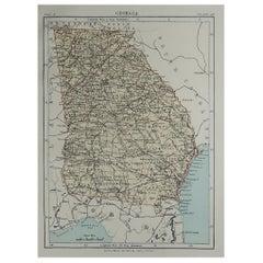 Original Antique Map of The American State of Georgia, 1889