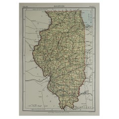 Original Antique Map of The American State of Illinois, 1889