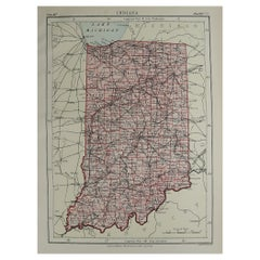 Original Antique Map of The American State of Indiana, 1889