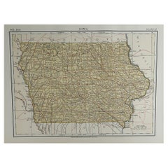 Original Antique Map of The American State of Iowa, 1889