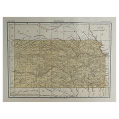 Original Antique Map of The American State of Kansas, 1889
