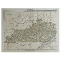 Original Antique Map of The American State of Kentucky, 1889
