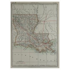 Original Antique Map of The American State of Louisiana, 1889