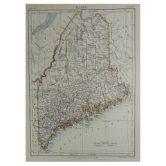 Original Antique Map of The American State of Maine, 1889