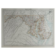 Original Antique Map of The American State of Maryland, 1889