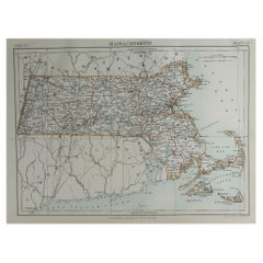 Original Antique Map of The American State of Massachusetts, 1889