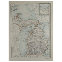 Original Antique Map of The American State of Michigan, 1889