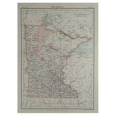 Original Antique Map of The American State of Minnesota, 1889