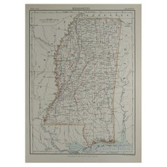 Original Antique Map of The American State of Mississippi, 1889