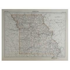 Original Antique Map of The American State of Missouri, 1889