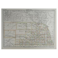Original Antique Map of The American State of Nebraska, 1889