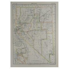 Original Antique Map of The American State of Nevada, 1889