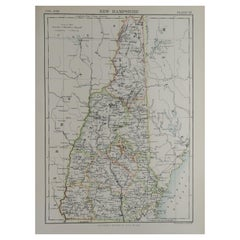 Original Antique Map of The American State of New Hampshire, 1889