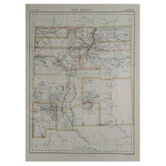 Original Antique Map of The American State of New Mexico, 1889