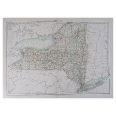 Original Antique Map of The American State of New York, 1889