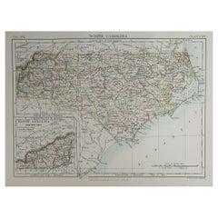 Original Antique Map of The American State of North Carolina, 1889
