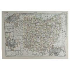 Original Antique Map of The American State of Ohio, 1889