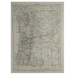 Original Antique Map of The American State of Oregon, 1889