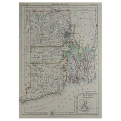 Original Antique Map of The American State of Rhode Island, 1889