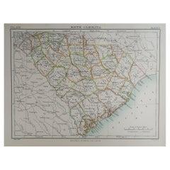 Original Antique Map of The American State of South Carolina, 1889