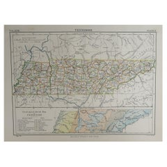 Original Antique Map of The American State of Tennessee, 1889
