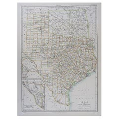 Original Antique Map of The American State of Texas, 1889