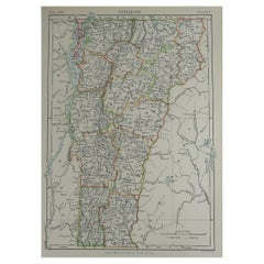Original Antique Map of The American State of Vermont, 1889