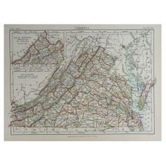 Original Antique Map of The American State of Virginia, 1889