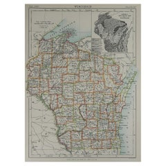 Original Antique Map of The American State of Wisconsin, 1889