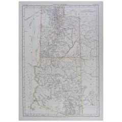 Original Antique Map of The American States of Utah & Arizona, 1889