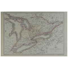 Original Antique Map of the Great Lakes, Canada by T.Ettling, 1861