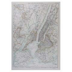 Original Antique Map of The New York City & Vicinity, 1889