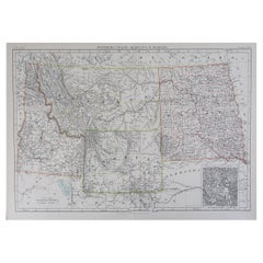 Original Antique Map of The States of Wyoming, Idaho, Montana & Dakota