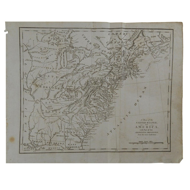 Original Antique Map of The United States, circa 1800 For Sale