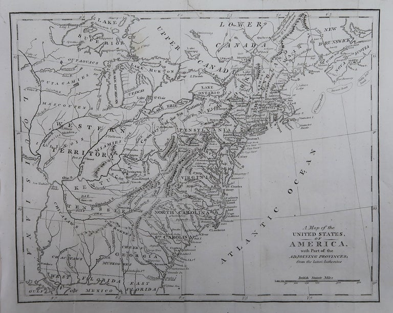 Rare map of the United States  Copper plate engraving  Published, circa 1800.  Originally from Barclay's Dictionary  Unframed  Two repairs to minor edge tears.