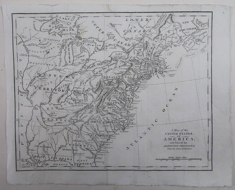 English Original Antique Map of The United States of America, circa 1800