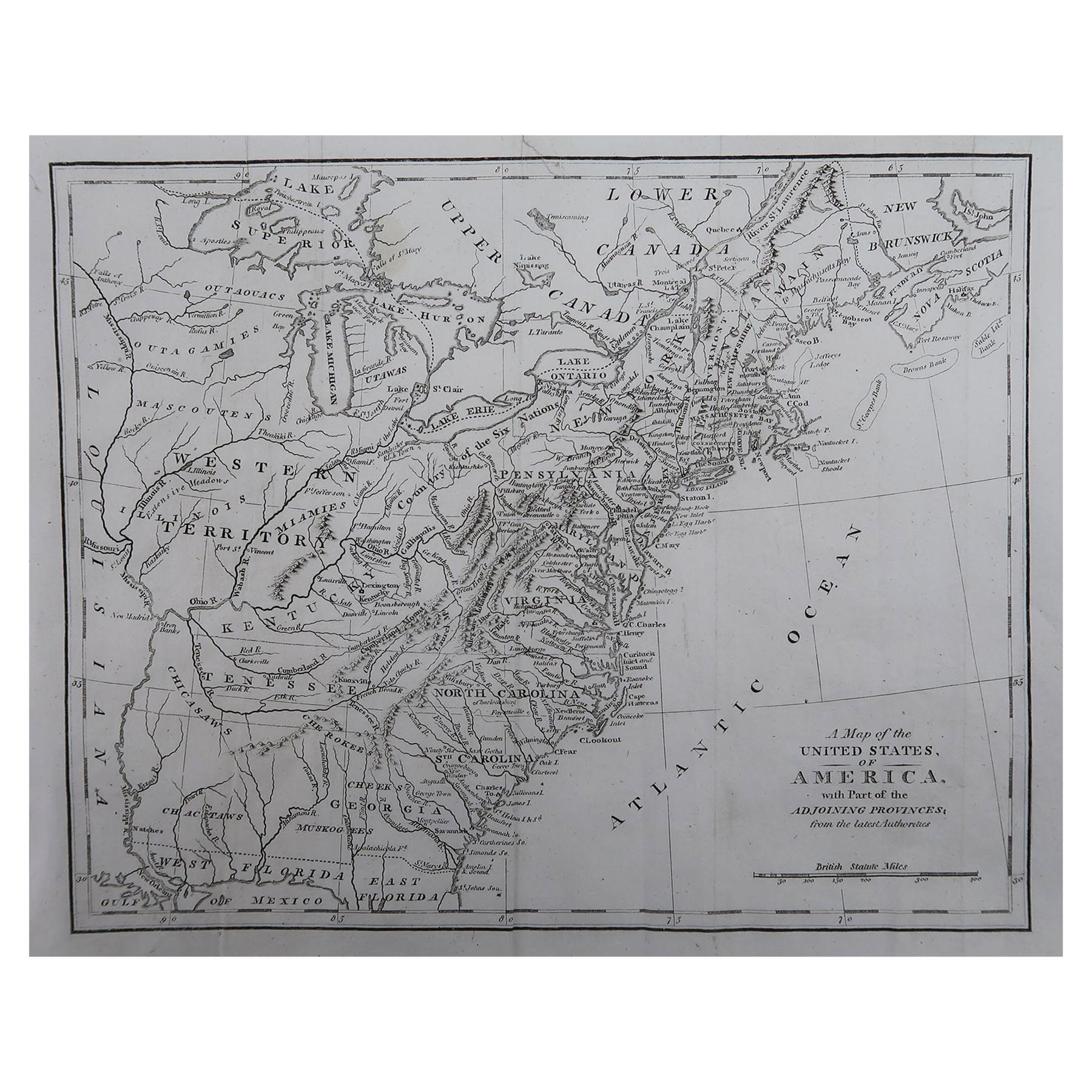 Original Antique Map of The United States of America, circa 1800