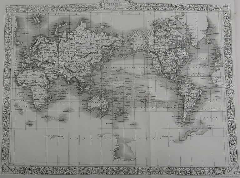 Great map of The World  Drawn and engraved by John Rapkin.  Published circa 1850.  Unframed.