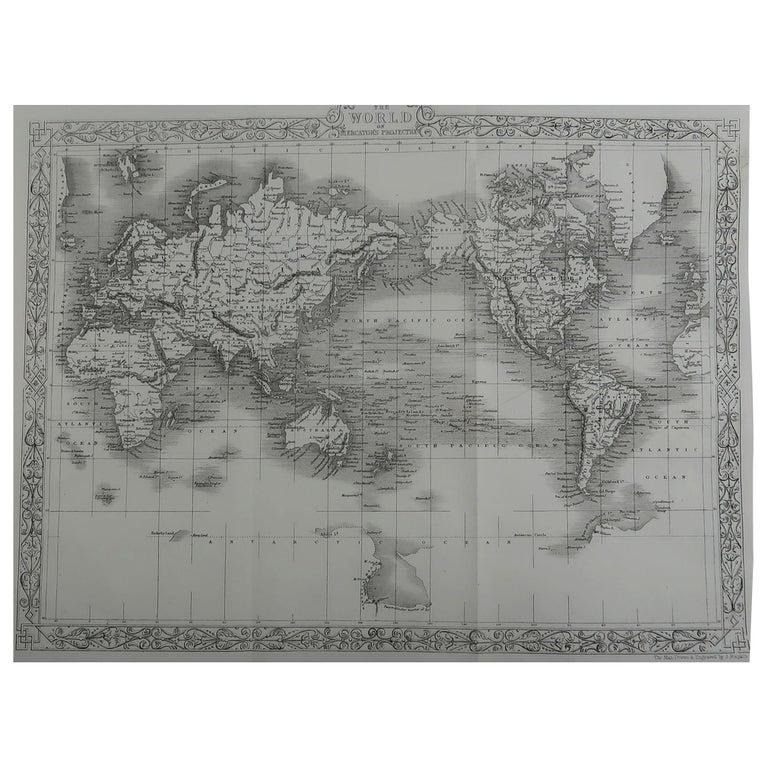 Original Antique Map of The World By John Rapkin, circa 1850