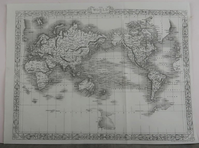 Other Original Antique Map of The World by John Rapkin, circa 1850 For Sale