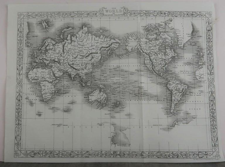 English Original Antique Map of The World by John Rapkin, circa 1850