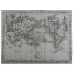 Original Antique Map of The World by John Rapkin, circa 1850